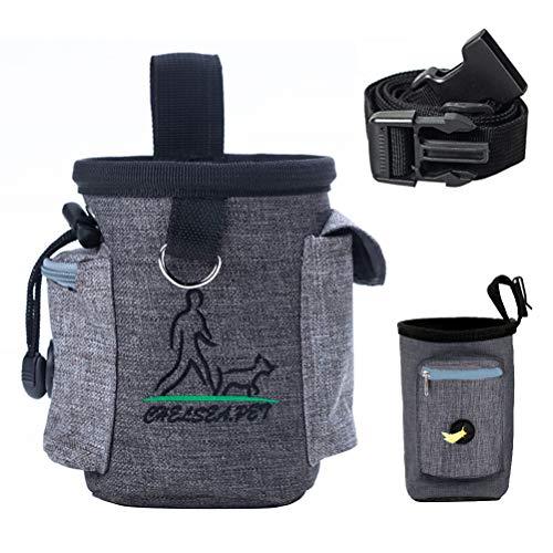 WIFUN Dog Treat Pouch, Dog Training Bag Dog Treat Bag Puppy Training Bag with Adjustable Waistband, Belt Clip, Pick-up…