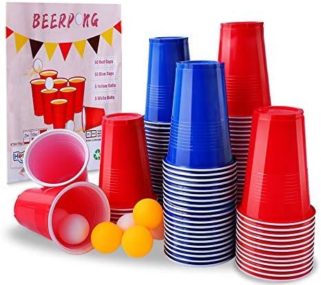 Herefun Beer Pong Tazas, Vasos de Plástico Desechables para Fiestas, Cerveza Pong Set con 50 Tazas Rojos, 50 Tazas Azules, 10 Pelotas de Ping Pong Juego para Beber Cumpleaños Celebración (A)