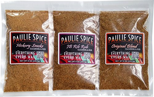 Paulie Spice : BBQ Seasoning & Rub Set (3 Flavors) : Sweet & Smoky Rib Rub : Hickory Smoke : Famous Original For: Steak, Ribs, Meat, Pork, Chicken, Wings, Beef, Salmon, Fish, Dry, Rubs, barbecue, Gift