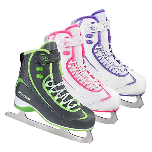 Riedell 625 Soar / Mens Beginner/Soft Figure Ice Skates / Color: Gray and Lime / Size: (Riedell Skates Sizing)