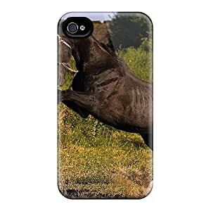 linJUN FENGCute Tpu DaMMeke Magnificent Black Horse Case Cover For Iphone 4/4s
