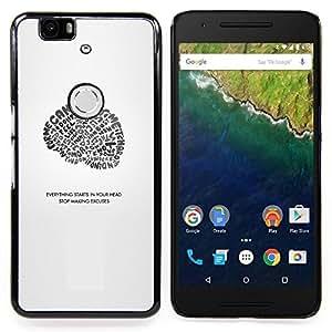TikTakTok Funda Carcasa protectora para Huawei Google Nexus 6P - Todo comienza en su cabeza