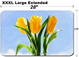 MSD Large Table Mat Non-Slip Natural Rubber Desk Pads Image 26858119 Bouquet of Three Yellow Tulips in vase on Window sill