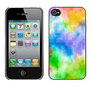 - Tie Dye Watercolor Art Hippy - Caja del tel????fono delgado Guardia Armor- For iPhone 4 / 4S Devil Case