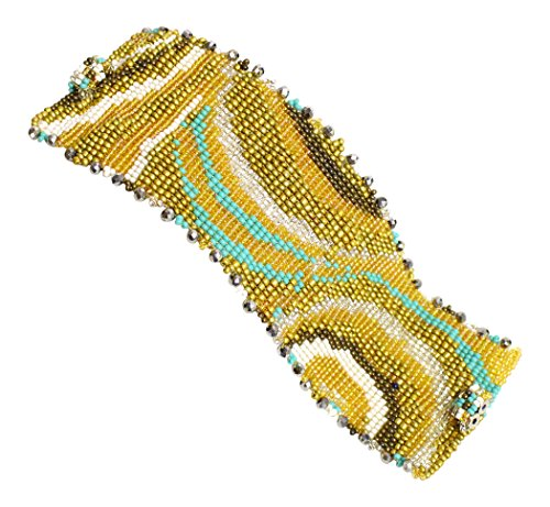 Glass Beaded Swirl - Enchanted Imports Swirl Design Beaded Bracelet Cuff with Double Magnetic Clasp, Handmade in Guatemala (Turquoise and Gold)