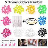 HeyMoly 100pcs Cat Nail Caps Boy Cat Girl Cat Soft Paw 5 Different Random Colors + 5 Adhesive Glue 4 Sizes (M)
