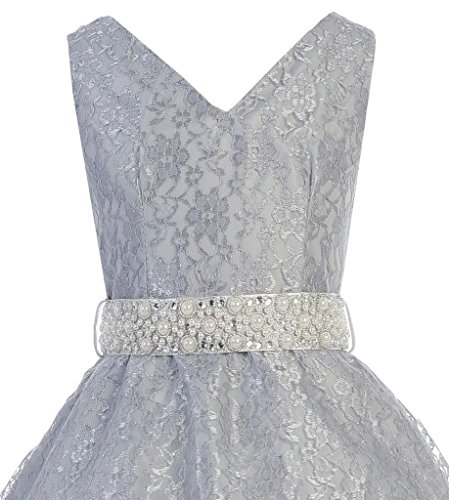 IGirlDress Little Girls Lace Special Occasion Dress Sizes 6 Silver