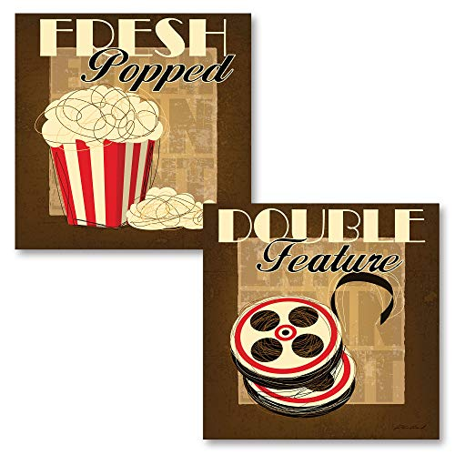 Gango Home Décor Movie Night! Retro Double Feature and Fresh Popped Signs; Two 12X12 Poster Prints ()