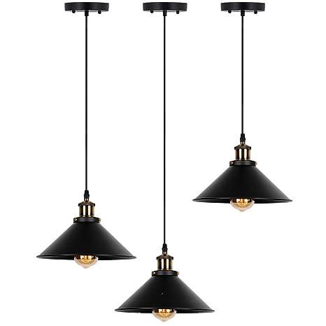 Ta Industrial Edison Kitchen Pendant Light 3 Pack Antique Brass