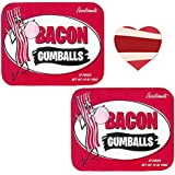 Bacon Gumballs (2 Pack + Sticker) - Bacon Flavored Chewing Gum Balls Gift Tin + Bacon Heart Sticker