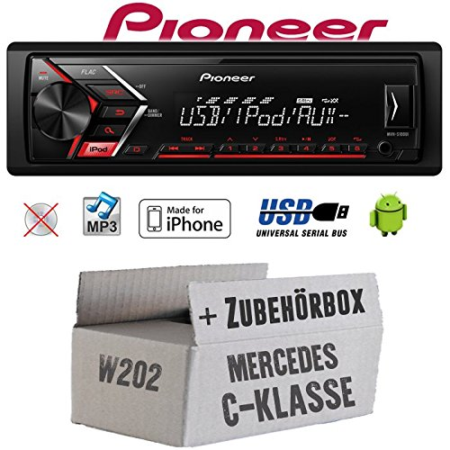 Mercedes C-Klasse W202 - Autoradio Radio Pioneer MVH-S100UI - | MP3 | USB | Android | iPhone Einbauzubehö r - Einbauset JUST SOUND best choice for caraudio MBW202_MVH-S100UI