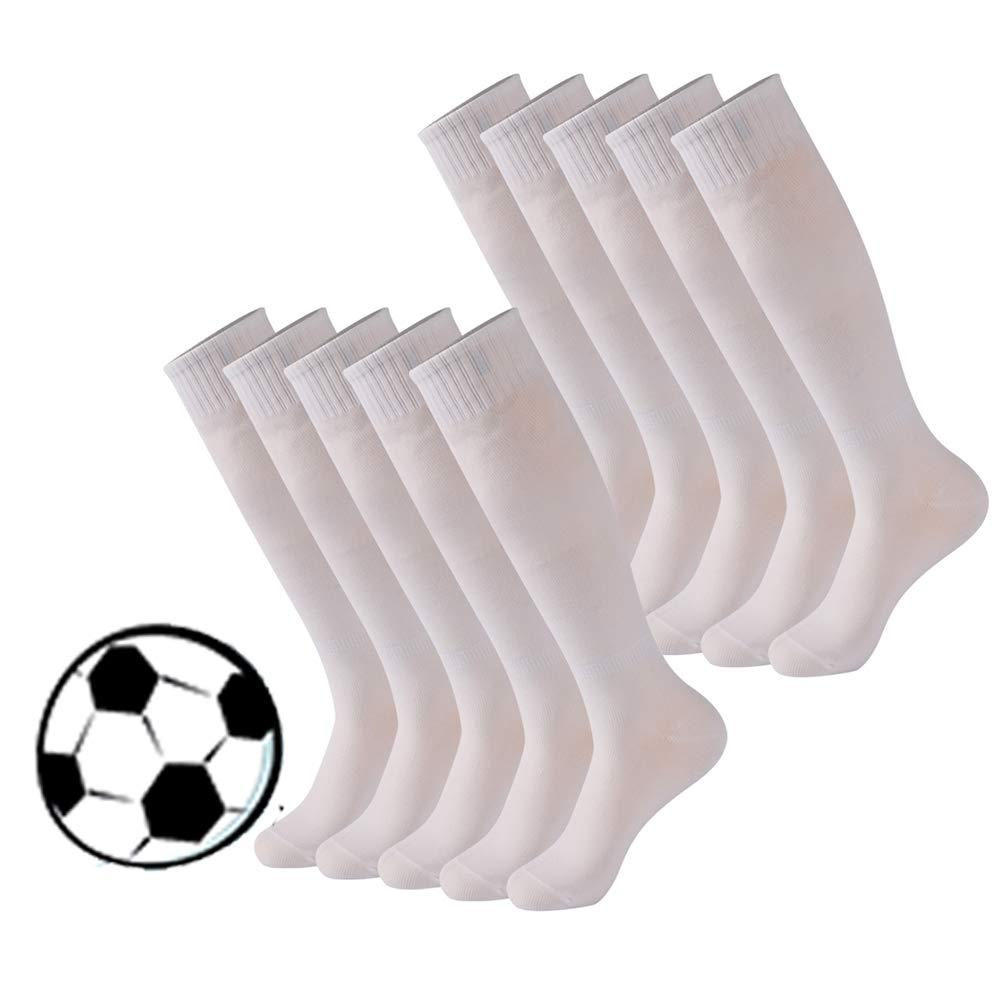 Sports Knee High Socks, Calbom Women Dress Casual Bright Solids Funky Crazy Adult Football Soccer Tube Long School Student Uniform Socks 10 Pairs White by Calbom