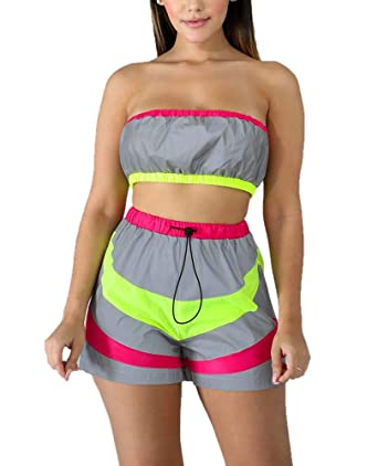 Moda Mujer Flash Reflectante Colorblock Shorts + Wrap Chest ...