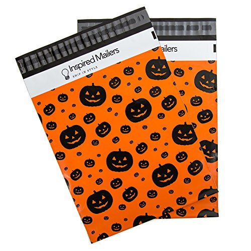 Inspired Mailers Poly Mailers 10x13 Halloween Jack O Lantern Pumpkins – Pack of 100 – Unpadded Shipping Bags (Orange/Black)