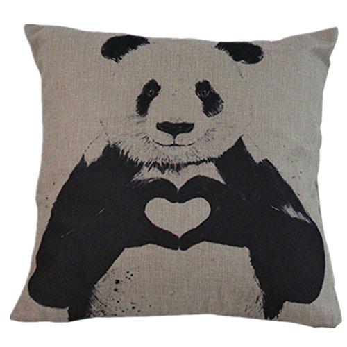 BPFY 4 Pack Home Decor Cotton Linen Sofa Animals Throw Pillow Case Cushion Cover 18 x 18 Inch (Elephant,Panda,Deer,Dragonfly) by BPFY (Image #2)