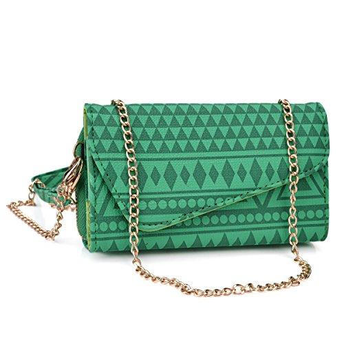 Kroo Forest Green Aztec Tribal Women's Wallet Clutch with Credit Card Slot and Shoulder Chain Included fits Blu Studio 5.0 K, E, 5.3 II D540 | Blu Studio 6.0 HD | Blu Life Pure XL | Blu Dash | Vivo IV