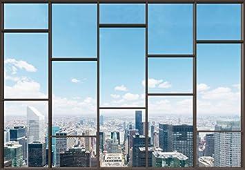 Fototapete fensterblick skyline  1art1 94903 Stadtbilder - Fenster Mit Ausblick Auf Die Skyline Der ...