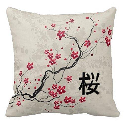 Oriental Style Sakura Cherry Blossom Art Throw Pillow Case ()