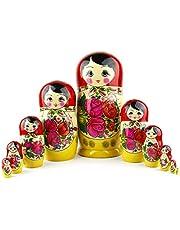Russische Nestelpoppen, 10 Traditionele Matroesjka Klassieke Semjonov Rood Stijl | Baboesjka Houten Poppen Geschenk Speelgoed, Handgemaakt in Rusland | Semyonov Rood, 10 stuks, 25 cm