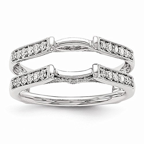Antique Vintage Cathedral Ring Simulated Diamonds Guard Solitaire Enhancer 14k White Gold Plated 6.5