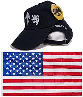 Blue Washed Style New Orleans Saints Embroidered Hat Cap & USA Flag 3x5 Super Polyester Nylon 3'x5' Banner Grommets Double Stitched Premium Quality