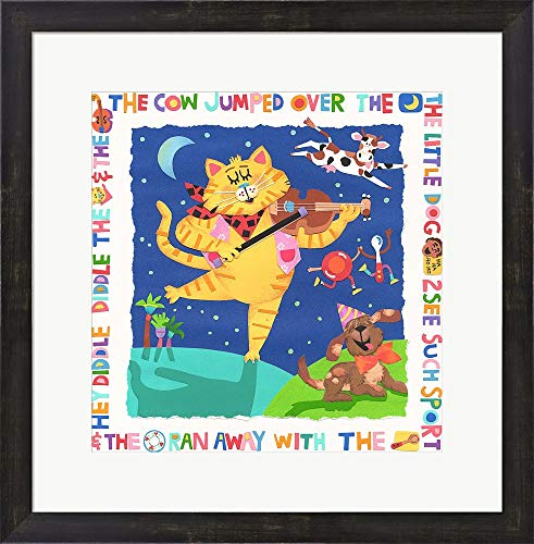 The Cow Jumped Over The Moon by Cheryl Piperberg Framed Art Print Wall Picture, Espresso Brown Frame, 21 x 21 inches