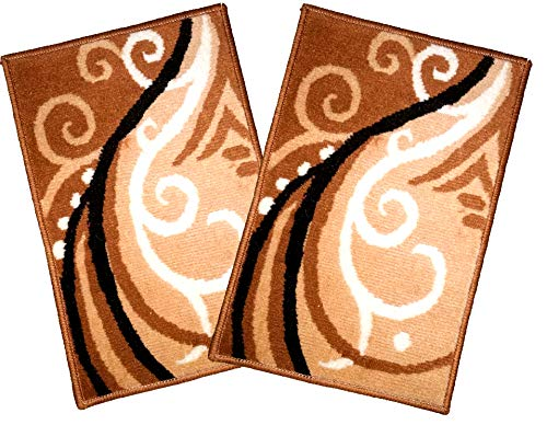 Global Home Foot mats for Home Combo Washable (16 X 24 Inch, Gold 2 Piece)