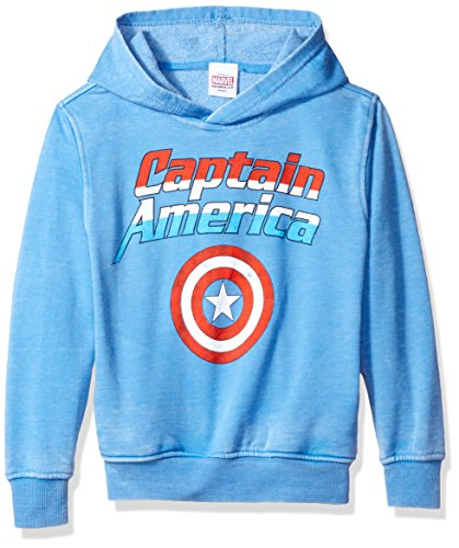 Marvel Little Boys' Captain America Shield Fleece Pullover, Royal Heather, 5/6 - Shield Emblem