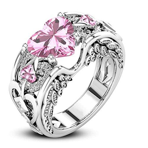 Gemstone Choker Set (Clearance Women's Silver Natural Ruby Gemstones Birthstone Bride Wedding Engagement Heart Ring Laimeng (7, Pink))