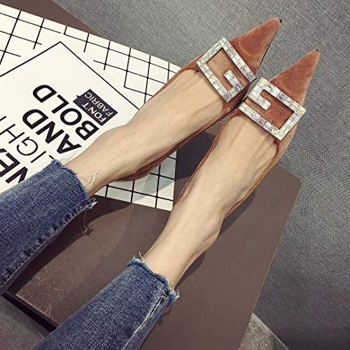 Pointed Bb Fine Autumn Women's Shoes heeled Zapatos Alto Metal Yukun Single Brown De High Tacón Diamond With Buckle xngFwPq