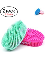 Agirlvct 2 Pack Silicone Loofah Brush for Bath Shower Face Body Massaging Spa Brush Gift for Family (Aquamarine & Rose Red)