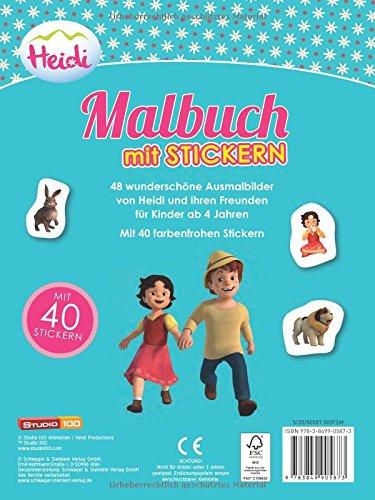 Heidi Malbuch Mit 40 Stickern Amazon De Bücher