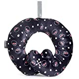BCOZZY Kids Chin Supporting Travel Neck Pillow - Supports The Head, Neck and Chin in A Patented Product. Child Size, Black Skulls