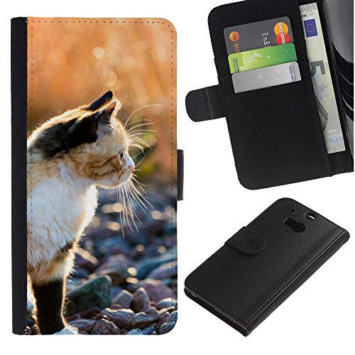 EuroCase - HTC One M8 - American shorthair munchkin bobtail - Cuero PU Delgado caso cubierta Shell Armor Funda Case Cover