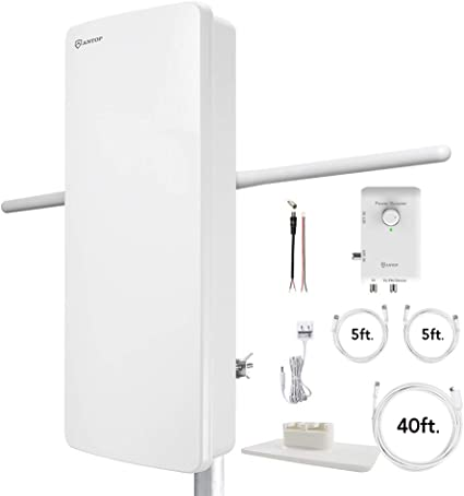 ANTOP 80 Miles HDTV Amplified Antenna,Big boy Antenna with Noise-Free 4G LTE Filter /& Smart Boost System for Dual Connectivity,Support TV and A Second TV or any OTA-Ready Streaming Device or Projector