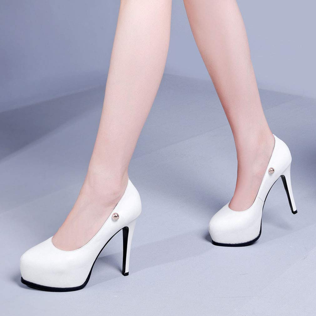 Gfphfm Damenschuhe Metal Rivet Single schuhe 2019 2019 2019 New Spring Fall Leder Damen Schuhe Pointed Fine Heel Waterproof High Heels Night Club Stage B 38 1f3e92