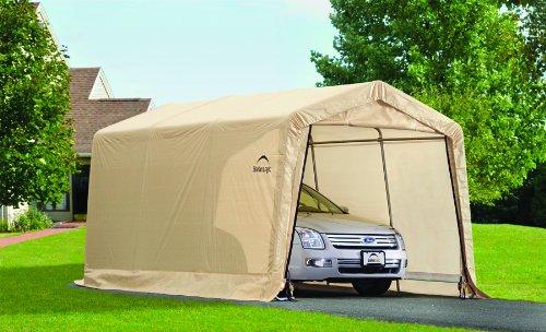 Instant Garage Heavy Duty : Shelterlogic peak style autoshelter sandstone