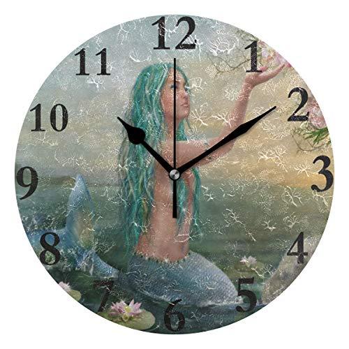 (Ladninag Wall Clock Ocean Mermaid Flower Lotus Silent Non Ticking Decorative Round Digital Clocks Indoor Outdoor Kitchen Bedroom Living Room)