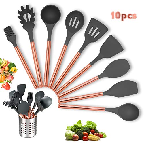 Kitchen Utensil Set - 10 PCS Silicone Kitchen Cooking Utensils Set - Rose Gold Stainless Steel Handle Kitchen Gadgets Set for Nonstick Cookware - BPA Free & Non Toxic Spoon Turner ()
