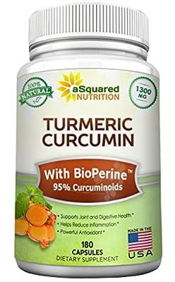 Pure Turmeric Curcumin 1300mg with BioPerine Black Pepper Extract - 180 Capsules - 95% Curcuminoids, 100% Natural Tumeric Root Powder Supplements, Organic Anti-Inflammatory Joint Pain Relief Pills