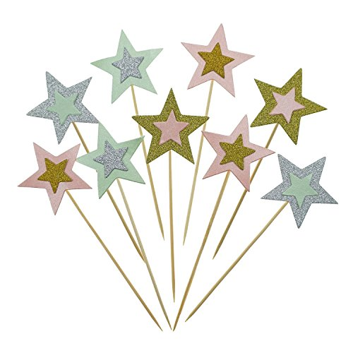 Shxstore Colorful Twinkle Cupcake Picks Star, Star Cake Topper For Party Decorations Supplies, 20 ()