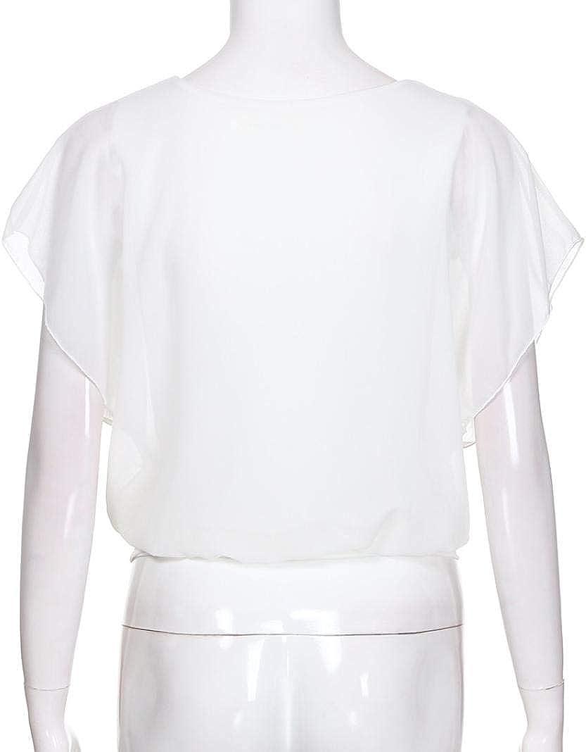 Kanpola Women Loose Casual Short Sleeve Batwing Sleeve Chiffon Top T-Shirt Blouse White