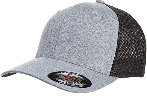 (Flexfit Men's Melange Stretch Mesh Cap, Heather Grey/Black, One Size)