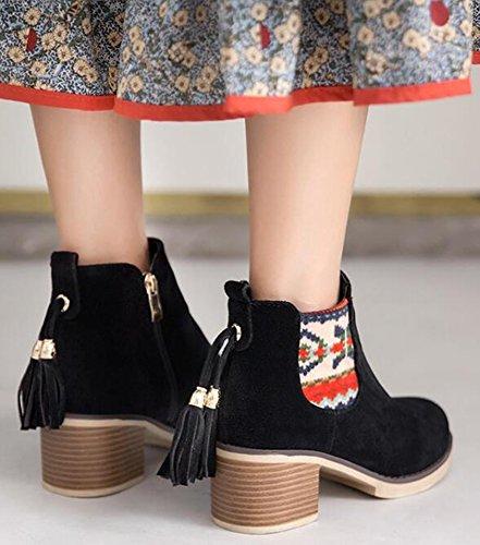 Idifu Kvinners Vintage Frynser Midten Chunky Hæler Faux Suede Chelsea Boots Side Glidelås Ankel Sokker Svart