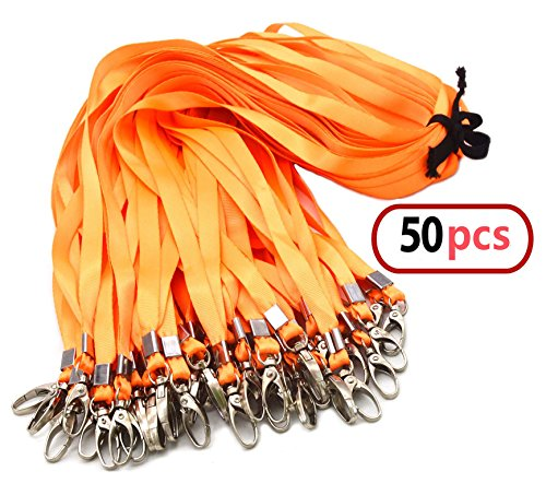 Swivel Key Tag (Orange Bulk Lanyards for Id Badges, Nylon Neck Flat Lanyard Swivel Hooks clips, Durably Woven lanyards with clip for Key Chains Men Women Office ID Name Tags and Badge Holders, lanyards 50Pack 32-inch)