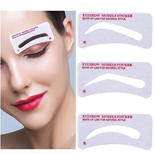EBANKU 96Pcs Eyebrow Shaping Stencils, 24 Styles Non-Woven Quick Makeup Eyebrow Stencils, Easy Eyebrow Stencil Eyebrow Template Stickers Easy Eyebrow Grooming Styling