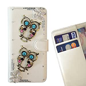 FOR HTC ONE A9 Owl Owls Cute Flowers Bling Bling PU Leather Waller Holder Rhinestone - - OBBA