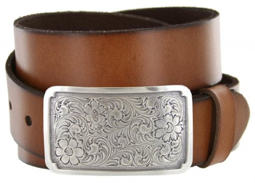 Silver Engraved Square Western Full Grain Leather Casual Jean Belt - Changeable Buckle
