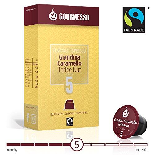 Gourmesso Soffio Gianduia Caramello (Toffee Nut) - 10 Nespresso Compatible Coffee Capsules - Fair Trade (Orange Toffee)