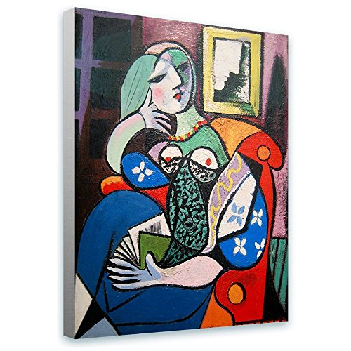Alonline Art - Woman With Book Pablo Picasso FRAMED STRETCHED CANVAS (100% Cotton) Gallery Wrapped - READY TO HANG | 12
